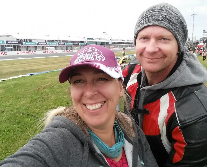 Frannie and Crispy at the MotoGP